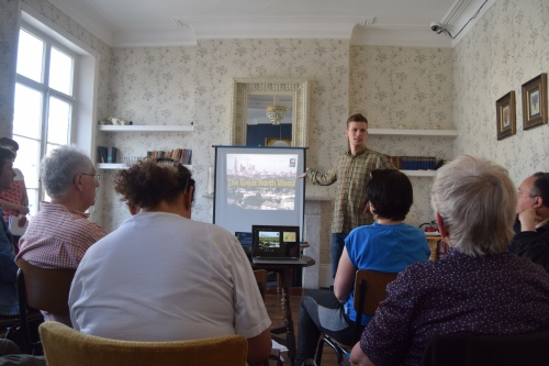 Photo shows Sam Bentley-Toon Great North Wood Project Development Officer - Centre for Wildlife Gardening London Wildlife Trust making his presentation to meeting
